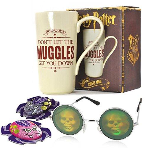 Halloween gift set with Harry Potter Mug, skull glasses and Cadbury Spiders -