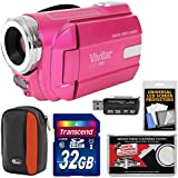 Vivitar DVR-508 HD Digital Video Camera Camcorder (Pink) 32GB Card + Case + Kit
