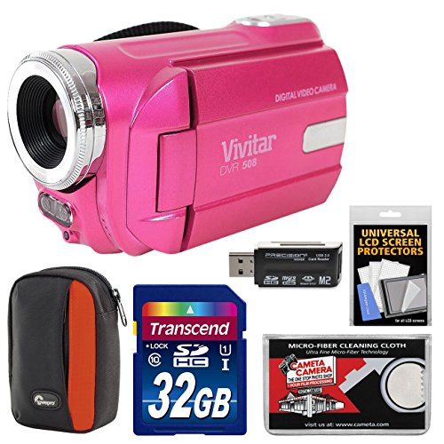 Vivitar DVR-508 HD Digital Video Camera Camcorder (Pink) with 32GB Card + Case + (Dvr Card Kit)