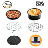Universal Air Fryer Accessories Fit all 3.7QT,5.3QT,5.8QT for Gowise Phillips and Cozyna Include Cake Barrel,Pizza Pan,Metal Holder,Multi-Purpose Rack with Skewers,Silicone Mat(5 Pack,7 In)