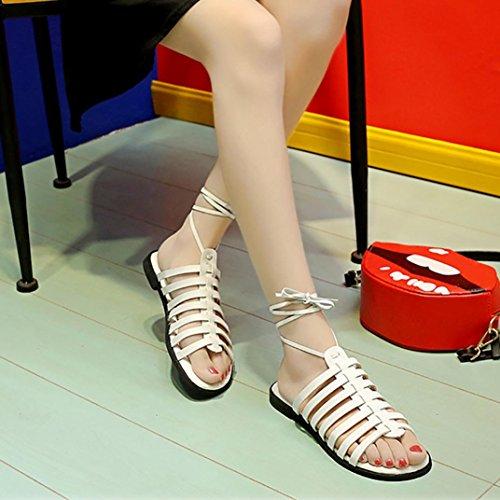 Cooljun Frauen Mode Lässig Feste Plattform Aushöhlen Knöchelriemen Böhmen Anti Skidding Rom Flachen Sandalen Weiß
