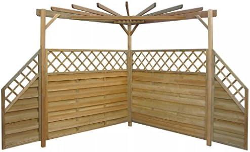 Tidyard Pérgola para Jardin con 4 Paneles Laterales de Valla Cenador para Jardin Patio Terraza Madera de Pino 256x256x225cm: Amazon.es: Hogar