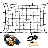 Upgraded Latex Bungee Cord Cargo Net, Kindax 47'' x 36'' Cargo Net with 12 Big Removable Hooks Stretches to 80'' x 60'' for The Secure Carrying on Roof Luggage Rack, Cargo Carrier and Pickup Truck Bed