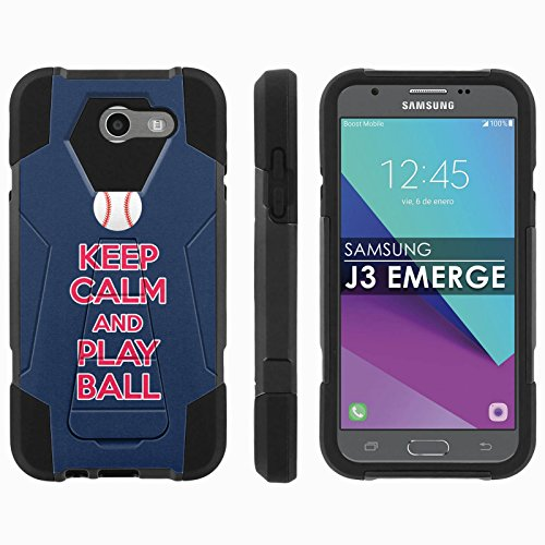 Cleveland Indians Case - Samsung Galaxy J3 Emerge [2017] Mil-Spec [Mobiflare] [Black/Black] Dual Layer Armor Case [Kickstand] [Screen Protector] - [Play Ball - Cleveland] for Galaxy [2017] [J3 Emerge] [5