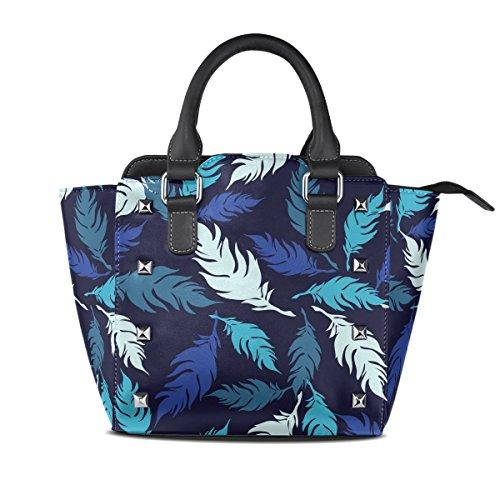 COOSUN Las mujeres decorativo plumas patrón PU cuero Bolsa de hombro asa superior del totalizador del bolso del bolso de Crossbody Medio Multicolor