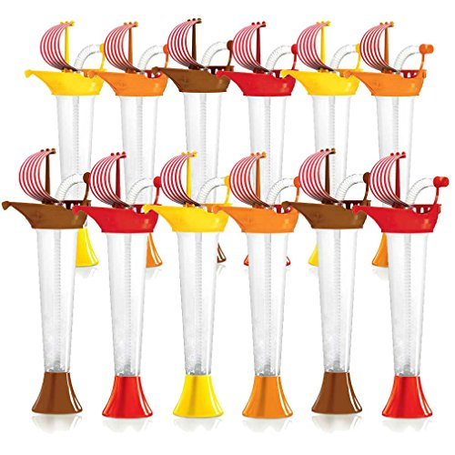 Pirate Ship Cups Kids Party 12-PACK - for Cold or Frozen Drinks, Kids Parties - First it's a Cup, then it's a Toy - 9 oz. (250 ml) - set of 12 Yard Cups in assorted colors and Sail designs by Sweet World (Image #9)'