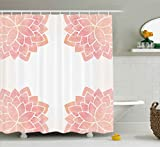 Ambesonne Floral Shower Curtain by, Watercolor Petals Lotus Flower Meditation Yoga Spiritual Flora Beauty Artwork, Fabric Bathroom Decor Set with Hooks, 70 Inches, Coral Light Pink
