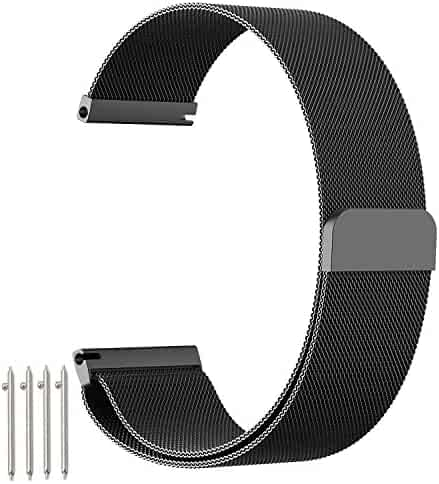 amBand Fully Magnetic Closure Clasp Mesh Loop Milanese Stainless Steel Metal Replacement Band Bracelet Strap for Men's Women's Watch ,Black 22mm