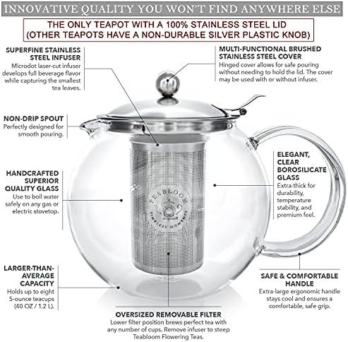 Herausnehmbares Tee-Ei aus Edelstahl 1200ml Fassungsverm/ögen Herdplattensichere Teekanne aus Glas Teabloom Classica Teekanne f/ür jeden Tag