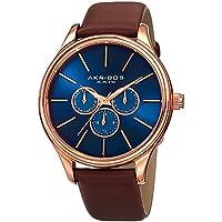 Akribos XXIV Element Mens Casual Watch - Sunburst Effect Dial - Quartz Movement - Leather Strap - Blue Brown