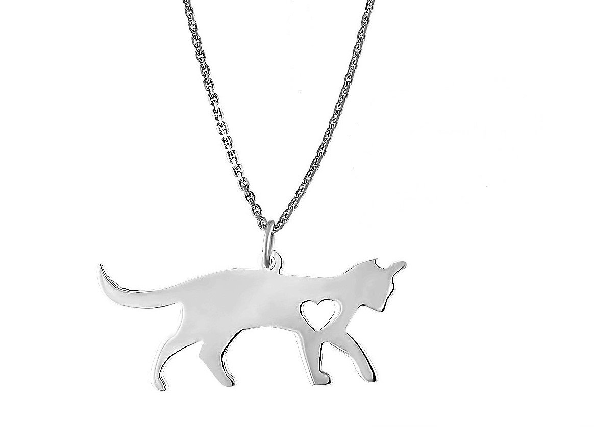 EZ Creations Yoga Cat Lovers Jewelry Charm Gift Necklace Heart Silver, Italian Adjustable Chain.