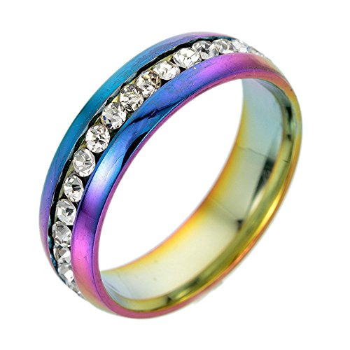Shusuen ☜ Stainless Steel for Men and Women Fashion Couple Ring Non-Fading Row with Diamond Steel Full Diamond Rings from Shusuen