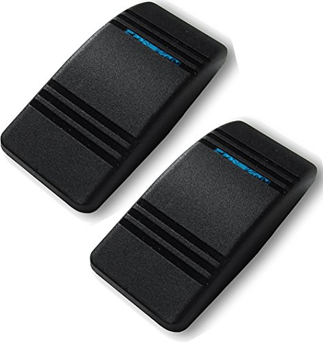 - 2x Carling Actuator / Rocker Soft Rubber Switch Cover Black w/ Blue Slit Lens
