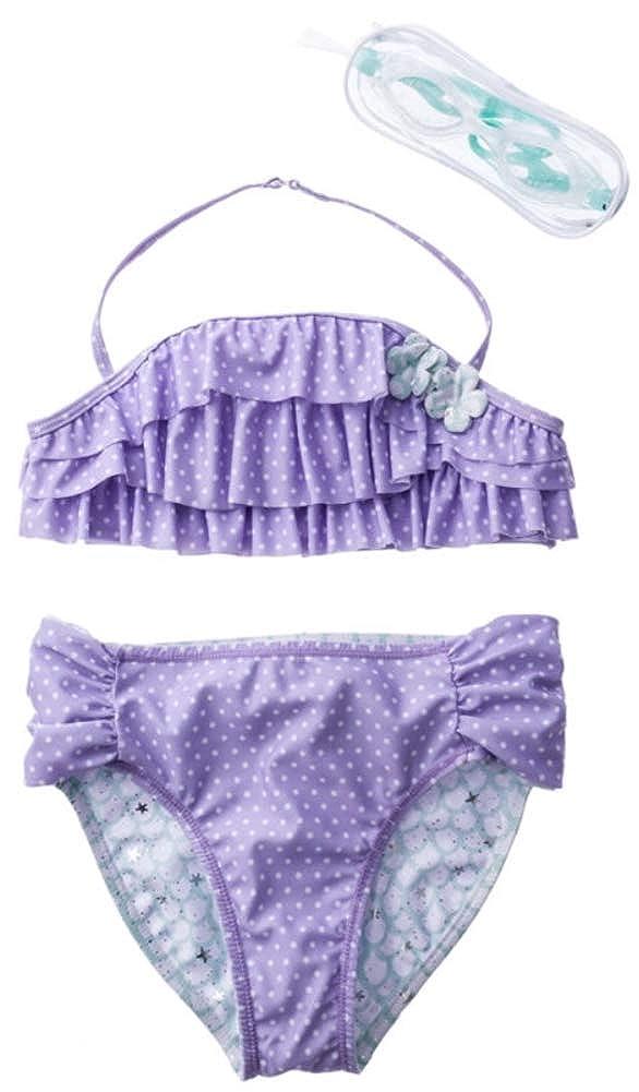 Jantzen Girls 7-16 3 Piece Dotted Ruffle Halter Mermaid Scales Reversible Bottoms Swim Goggles Set Purple//White