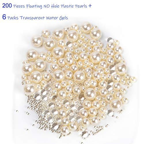 Z-synka Assorted Plastic Bead Pearls,200Piece Sale Floating NO Hole Plastic Pearls + Includes 6Pack Transparent Water Gels for Floating The Pearls,Wedding,Birthday Party Home Decoration,etc,Lvory]()