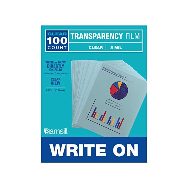 Samsill 100 Pack Clear Write On Transparency Film