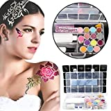 24Colors 3D Tattoo Glitter Luminous Powder Temporary Tattoo Kit Shimmer 108 Body Art Design Stencils Paint with Glue Brush
