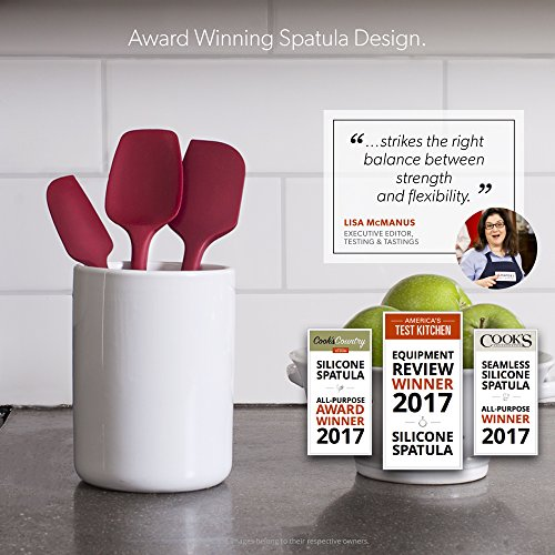 Award-Winning Professional Grade 3-Piece Red Silicone Spatula Set By DI ORO - 600°F Heat-Resistant Seamless Rubber Spatulas - Best Spoonula, Small Spatula, Large Spatula for Cooking & Baking