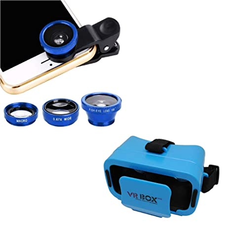 Captcha Multipurpose 3 in 1 Camera Lens with Mini Vr Box for Best Movie and  Gaming Experience for Realme 2 Pro and Vivo V7 Mobile