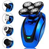 Telfun 5-in-1 Electric Shaver for Men, Wet&Dry Rechargeable Mens Rotary Shavers, 4D Floating 5 Head Cordless Grooming Kit (Sapphire Blue)