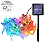 Dragonfly Solar String Lights ,Solarmks 8 Mode Solar Lights String Outdoor 20 LED Fairy Lighting for Outdoor Decoration ,Multi Color