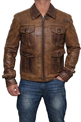 Expendables Leather Jacket Mens - Genuine Lambskin Brown Distressed Leather Jacket Men | M