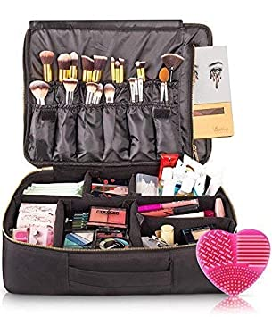 habe Extra Large Travel Makeup Bag , Crack,Proof Dividers \u2013 Ultra Big  Professional Organizer Train Case Makeup Artists Bags for Women and  Cosmetic