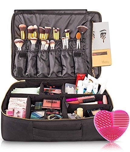 habe Travel Makeup Bag with Mirror – Premium Vegan Designer Make Up Bag Organizer Train Case for Women – More Storage than 3 Cosmetic Bags, Make Up Bags or Make Up Cases (BONUS Brush Cleaner) – Pink