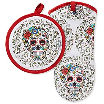 Fiesta Skull & Vine Oven Mitt & Pot Holder, 6.5