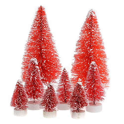 (Factory Direct Craft Package of 16 Assorted Size Vintage Pink Frosted Miniature Bottle Brush Trees for Crafting and Displaying)