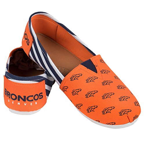 (NFL Womens Football Ladies Canvas Logo Slip-On Summer Shoes - Pick Team (Stripes - Denver Broncos, Large))