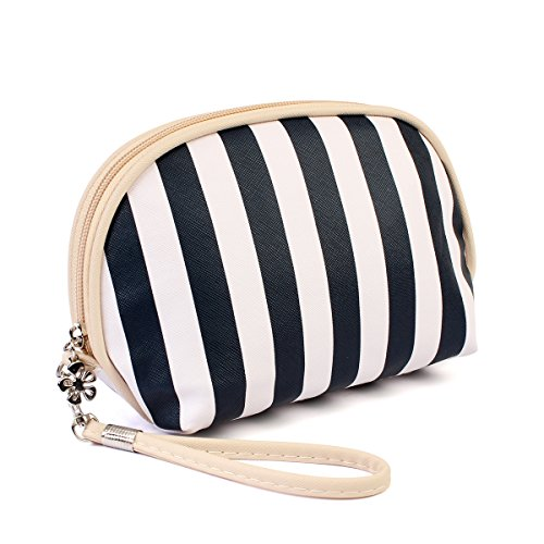 Multifunction Portable Travel Organizer - Cosmetic Makeup Pouch/Toiletry Purse/Jewelry Bag/Print School Pencil Case/Metallic Zip Clutch/Striped Wristlet (Round - Navy Stripe)