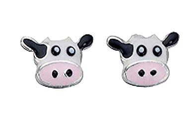 amazon 女性向けイヤリング tf comical cow stud earrings 925
