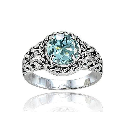 Blue Topaz Rope Ring - Sterling Silver Blue Topaz Round Oxidized Rope Split Shank Ring, Size 7