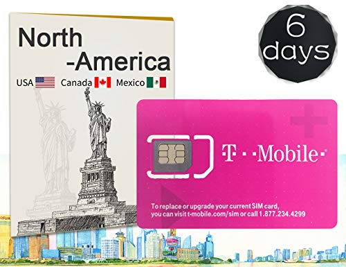 T-Mobile Prepaid SIM Card 6 Days - Unlimited Talk, Text, and Data in USA - 5GB Data in Canada and Mexico