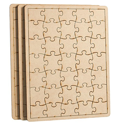 Blank Puzzle - 3-Pack Unfinished Wood Puzzle with 35-Piece Each, Wooden Jigsaw Puzzles for DIY, Kids Color-in Crafts Projects, 10.25 x 7.75 x 0.25 Inches