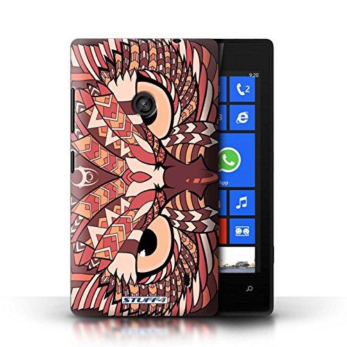 Etui / Coque pour Nokia Lumia 520 / Hibou-Rouge conception / Collection de Motif Animaux Aztec