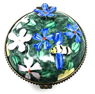 Kelvin Chen Enameled Postage Stamp Dispenser - Floral with 3-D Flowers and Bumble Bee, 2.25 Round