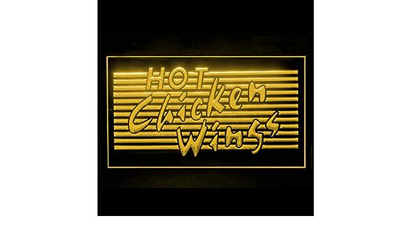 110050 Hot Chicken Wings BBQ Shop Bar Steak Display LED Light Sign