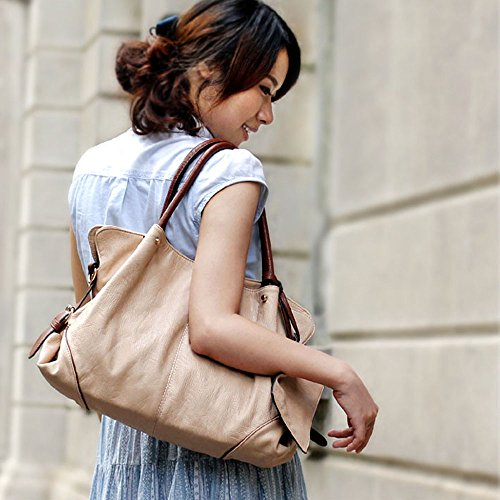 Clutch Top Bags Purse Pieces Ladies Large Handle 3 Apricot FiveloveTwo Womens Purse Tote and Bag Hobo Shoulder Tote Handbag Set Combo qfw6z8C