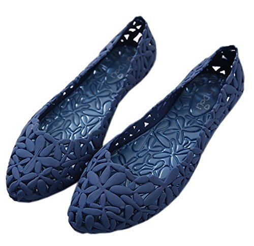Vokamara Women Flower Hollow Out Pointy Toe Jelly Ballet Flat Blue 40 ()