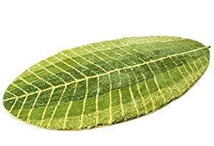 "Luxbon Comfortable Green Leaf Shaped Oval Fluff Bathmat Living Room Carpet Bedroom Rug Washable Rugs Home Decorator Floor Rug and Carpets (27.5""55"")"