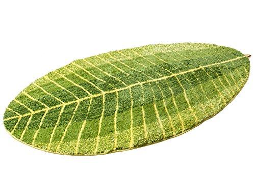Luxbon Comfortable Green Leaf Shaped Oval Fluff Bathmat Living Room Carpet Bedroom Rug Washable Rugs Home Decorator Floor Rug and Carpets (27.5