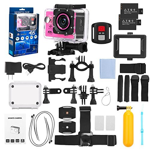 FINEC F60R Waterproof Sports Action Camera 4K 16 MP Ultra HD WIFI 170 Degree Angle Underwater Camcorder With 2.0Inch LCD Screen And Full Accessories Kits (Pink)