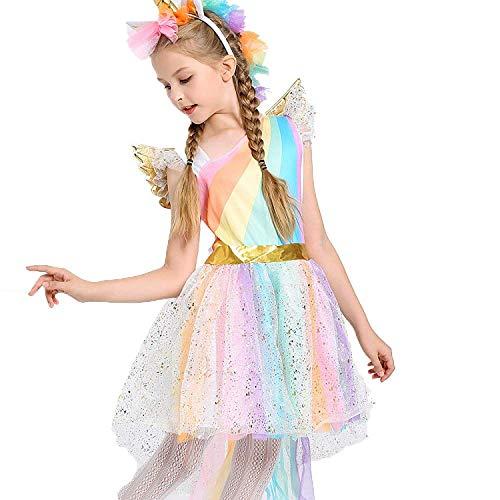 Girls Rainbow Dress Unicorn Princess Costume Tutu Dress