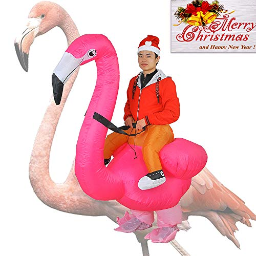 Inflatable Flamingo Costume Adutls Ride On Flamingo Halloween Costume Cosplay (Flamingo) -