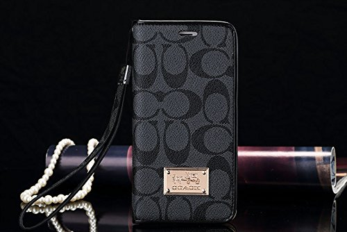 Luxury Famous Fashion New Grid Leather Hard Back case Cover for All iPhone 4 5 6 c SE s Plus LV6 (Black Grey for iPhone 6 6s Plus - Fashion Grid