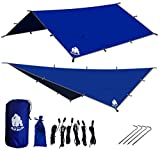 Chill Gorilla 12x12 Hammock Rain Fly Tent Tarp Waterproof Camping Shelter. Essential Survival Gear. Stakes Included. Lightweight. Easy to Setup. Made from Diamond Ripstop Nylon. Camp Accessories