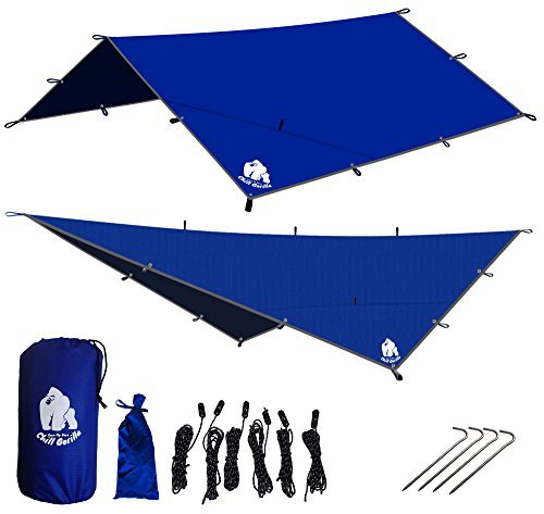 CHILL GORILLA 12′ HAMMOCK RAIN FLY TENT TARP Waterproof Camping Shelter. Essential Survival Gear. Stakes Included. Light-weight. Easy to setup. Made from DIAMOND RIPSTOP Nylon – DiZiSports Store