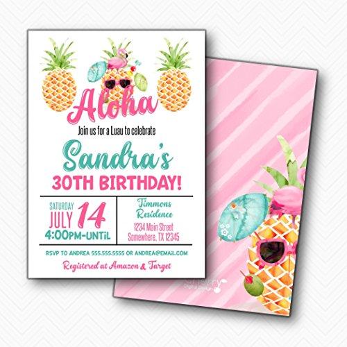 Pineapple Aloha Birthday Party Luau Hawaiian | Envelopes Included